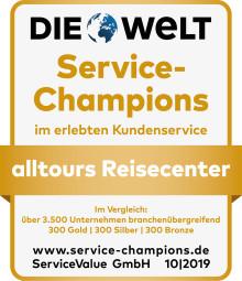 Service Champion 2019 ausgezeichnet - alltours Reisecenter zum achten Mal Branchensieger