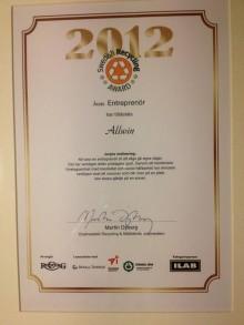 Allwin vann Årets Entreprenör på Återvinningsgalan 2012