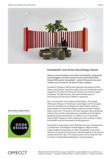 Offecct Press release Green Good Design Award 2020 Soundsticks® by Andrea Ruggiero_EN