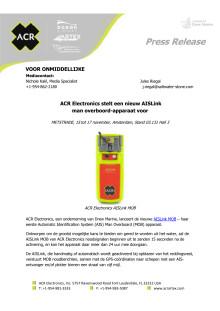 ACR Electronics stelt een nieuw AISLink man overboord-apparaat voor