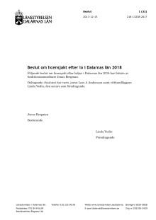 Beslut om licensjakt efter lo i Dalarnas län 2018