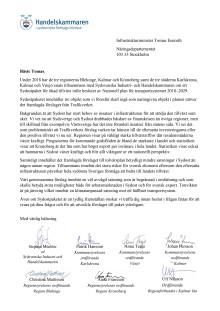 Brev till infrastrukturminister Tomas Eneroth angående satsningar i Sydost