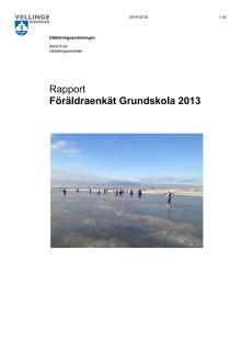 Rapport: Föräldraenkät grundskola 2013