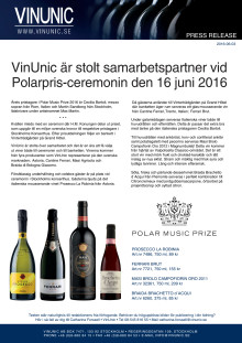 VinUnic är stolt samarbetspartner vid Polarpris-ceremonin den 16 juni 2016