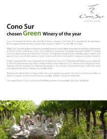 Cono Sur vald till årets gröna vingård