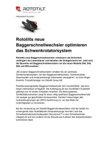 Rototilts neue Baggerschnellwechsler optimieren das Schwenkrotatorsystem