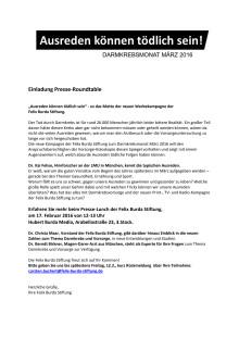Einladung Presse-Roundtable zum Darmkrebsmonat März 2016