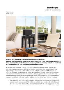 Audio Pro presents the anniversary model A40