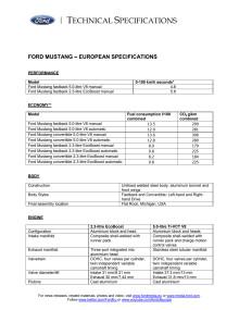 Tekniska specifikationer nya Ford Mustang