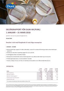 DELÅRSRAPPORT FÖR DUNI AB (PUBL) 1 JANUARI – 31 MARS 2018