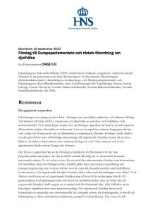 Hästnäringens yttrande över Europaparlamentets och rådets förslag till förordning om djurhälsa