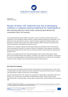Review of factor VIII medicines and risk of developing inhibitors in patients starting treatment for haemophilia A