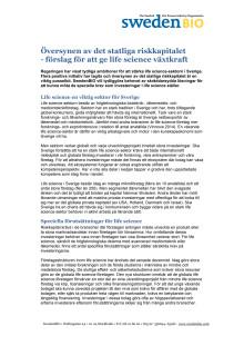 SwedenBIOs förslag för att ge life science växtkraft via det statliga riskkapitalet