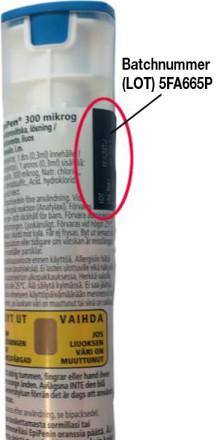 Indragning av EpiPen 300 mikrogram adrenalinpennor med batchnummer 5FA665P