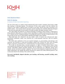 Anna Backman Bister: Spelets regler, doktorsavhandling. Abstract (engelska)