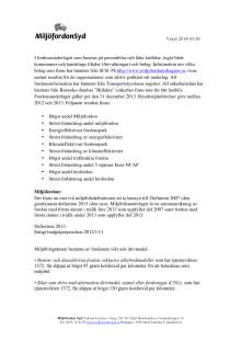 Parametrar och resultat för Miljöfordonsdiagnos