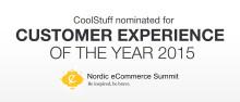 """CoolStuff ehdolla """"Customer Experience of the Year 2015"""" palkinnon saajaksi."""