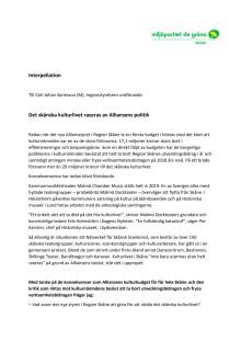 Miljöpartiets interpellation om Alliansens kulturbudget