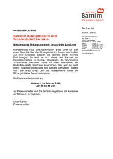 Einladung Kreisreise Britta Ernst