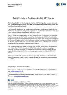 Patrik Ugander ny försäljningsdirektör ERV Sverige