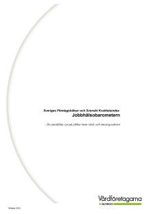 Jobbhälsobarometern, Vård- och omsorg, 2012