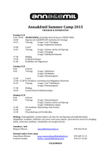 Program för Anna och Emils Summer Camp 2015