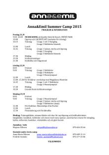 Program för Anna och Emils Summer Camp 2015