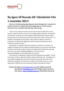 Moll Wendén legal rådgivare när Roundo förvärvas av Sundet Investment