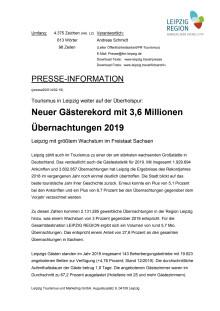 Tourismus in Leipzig weiter auf der Überholspur: Neuer Gästerekord mit 3,6 Millionen Übernachtungen 2019