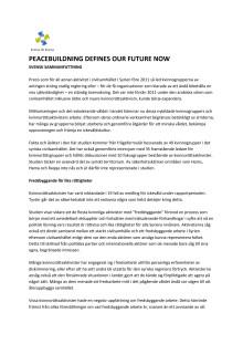 """Peacebuilding defines our future now"" - svensk sammanfattning"