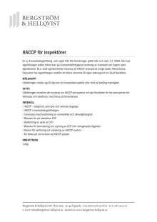 HACCP för inspektörer