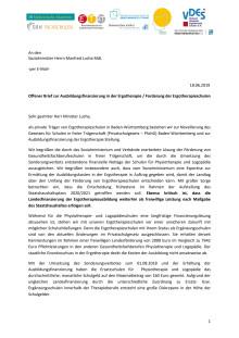 Offener Brief zur Ausbildungsfinanzierung in der Ergotherapie/Forderung der Ergotherapieschulen