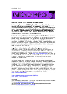 Fashion edit-a-thon at Nordiska museet 2013-11-12