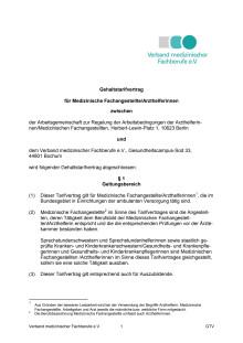 Gehaltstarifvertrag für medizinische Fachangestellte/ArzthelferInnen gültig ab 01.04.2017