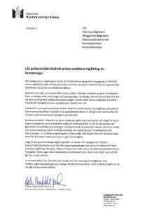 Brev från Kommunstyrelsen i Malmö om snabbare lagföring