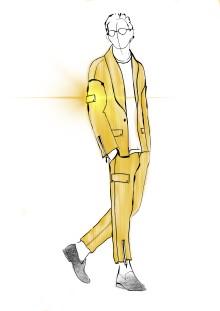 Erik Saades kostym i Mello designad av tidigare Beckmansstudent