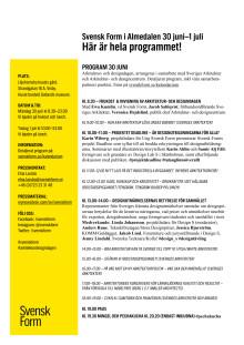 Svensk Form i Almedalen – hela programmet