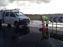 Spolning av dricksvattenledningarna i Båstad
