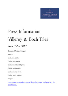 Press information - New tile products 2017