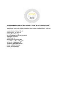 Företagen bakom Bästa Tillväxt 2010 i Mörbylånga kommun.
