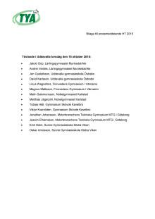 Lista på deltagande elever på Kvaltävlingen i Uddevalla