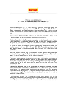 Pirelli i Formel 1, pressrelease efter friträning Australiens GP 2011