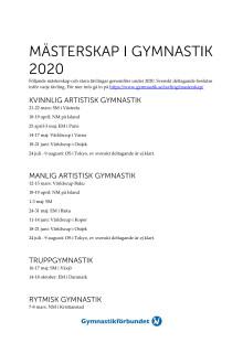 Mästerskap och världscuper Gymnastik 2020