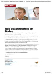 För få myndigheter i Malmö och Göteborg