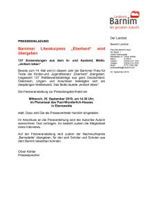 """Einladung Preisverleihung """"Eberhard"""" 2019"""
