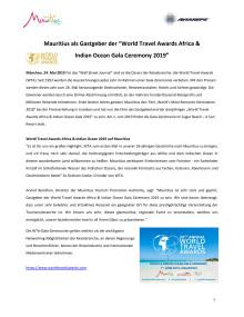 Pressemitteilung_Mauritius Gastgeber der World Travel Award Africa  Indian Ocean 2019