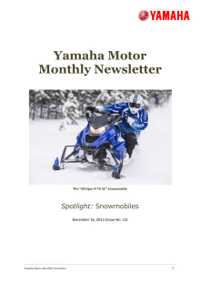 Yamaha Motor Monthly Newsletter No.12(Dec.2013) Snowmobiles