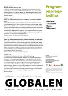 Onsdagskvällar på Globalen feb-mars 2013