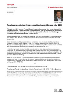 Toyotas motorstrategi: Inga personbilsdieselar i Europa efter 2018