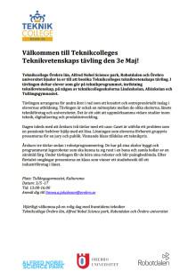 Teknikcollege Teknikvetenskapstävling 3 maj 2017!